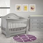 Baby Appleseed Davenport 2 Piece Nursery Set - 3-in-1 Convertible Crib and Double Dresser in Moon Gray