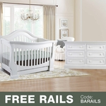 Baby Appleseed Davenport 2 Piece Nursery Set - 3-in-1 Convertible Crib and Double Dresser in Pure White