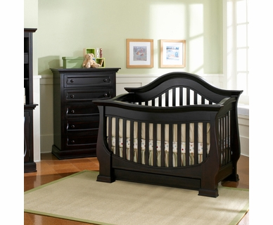 Baby Appleseed Davenport 2 Piece Nursery Set - Convertible Crib and 5 Drawer Chest in Espresso