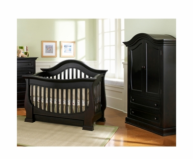 Baby Appleseed Davenport 2 Piece Nursery Set - Convertible Crib and Armoire in Espresso