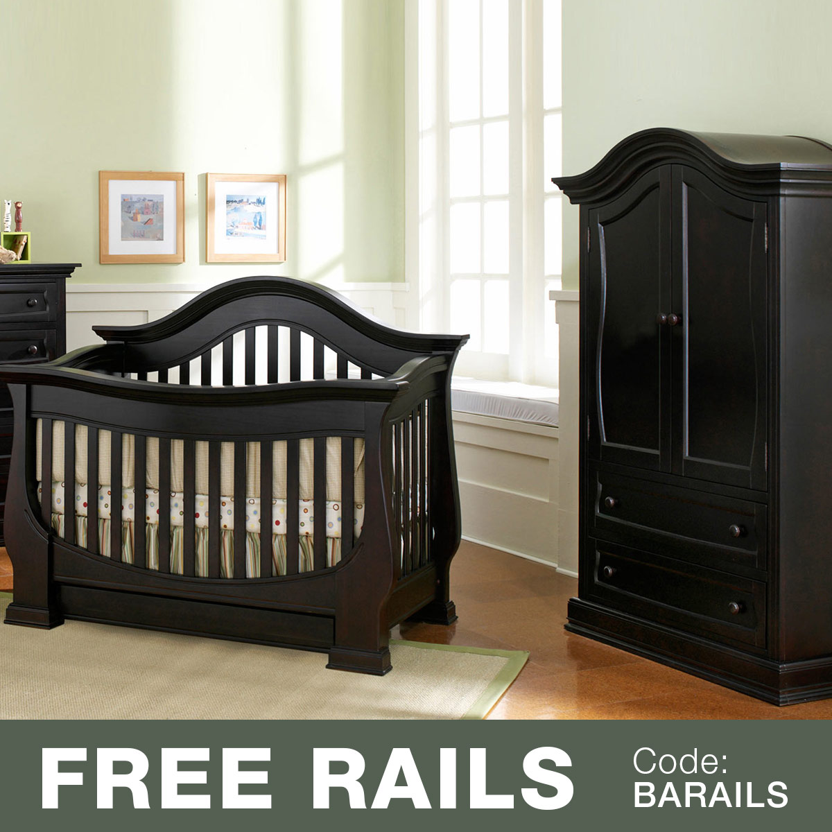 Baby Leseed Davenport 2 Piece Nursery Set Convertible Crib And Armoire In Espresso Free Shipping