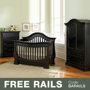 Baby Appleseed Davenport 3 Piece Nursery Set - 3-in-1 Convertible Crib, 5 Drawer Tall Dresser and Armoire in Espresso