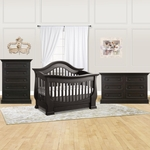 Baby Appleseed Davenport 3 Piece Nursery Set - 3-in-1 Convertible Crib, Double Dresser and 5 Drawer Chest in Espresso
