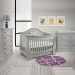 Baby Appleseed Davenport 3 Piece Nursery Set - 3-in-1 Convertible Crib, Double Dresser and 5 Drawer Chest in Moon Gray