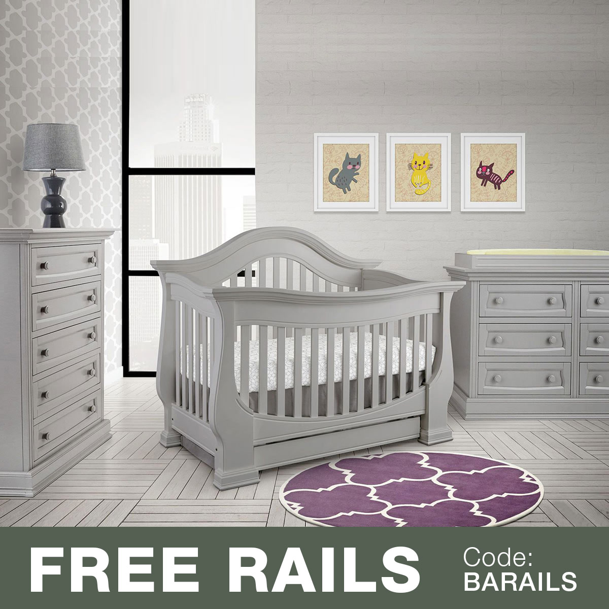 Baby Leseed Davenport 3 Piece Nursery Set In 1 Convertible Crib Double Dresser And 5 Drawer Chest Moon Gray Free Shipping