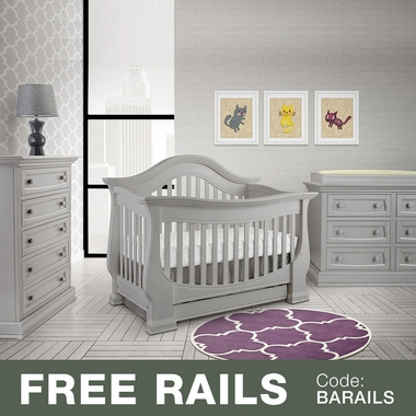 Baby Appleseed Davenport 3 Piece Nursery Set - 3-in-1 Convertible Crib, Double Dresser and 5 Drawer Chest in Moon Gray - Click to enlarge
