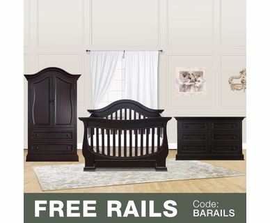 Baby Appleseed Davenport 3 Piece Nursery Set - 3-in-1 Convertible Crib, Double Dresser and Armoire in Espresso