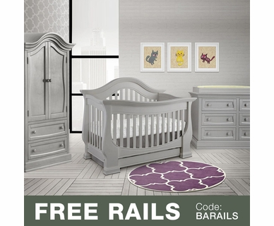 Baby Appleseed Davenport 3 Piece Nursery Set - 3-in-1 Convertible Crib, Double Dresser and Armoire in Moon Gray