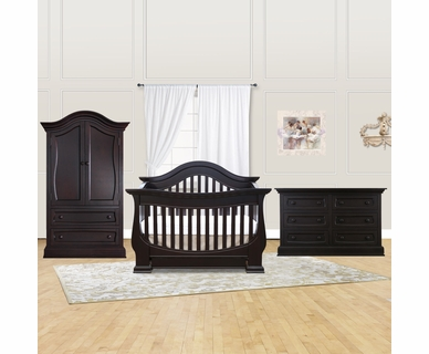 Baby Appleseed Davenport 3 Piece Nursery Set - Convertible Crib, Armoire and Double Dresser in Espresso