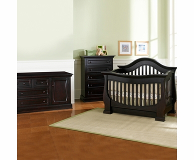 Baby Appleseed Davenport 3 Piece Nursery Set - Convertible Crib, Double Dresser and 5 Drawer Chest in Espresso