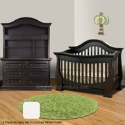 Baby Appleseed Davenport 3 Piece Nursery Set - Convertible Crib, Double Dresser and Matching Hutch in Colonial White