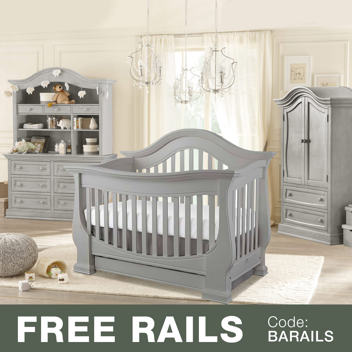 Superbe Baby Appleseed 4 Piece Nursery Set   Davenport 3 In 1 Convertible Crib,  Double Dresser With Hutch And Armoire In Slate FREE SHIPPING