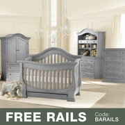 Baby Appleseed Davenport 5 Piece Nursery Set - 3-in-1 Convertible Crib, Double Dresser with Hutch, 5 Drawer Tall Dresser and Armoire in Moon Gray