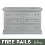 Baby Appleseed Davenport 6 Drawer Double Dresser in Moon Gray