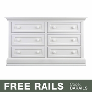 Baby Appleseed Davenport 6 Drawer Double Dresser in Pure White