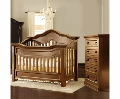 Baby Appleseed Millbury 2 Piece Nursery Set - Convertible Crib and 5 Drawer Chest in Coco