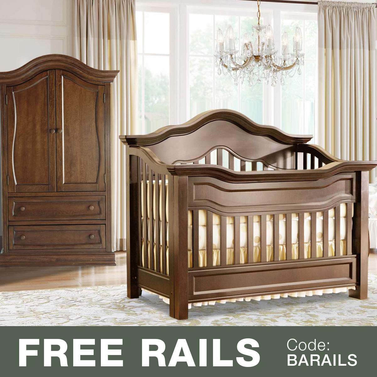 Baby appleseed millbury 2 piece nursery set convertible crib and armoire in coco free shipping