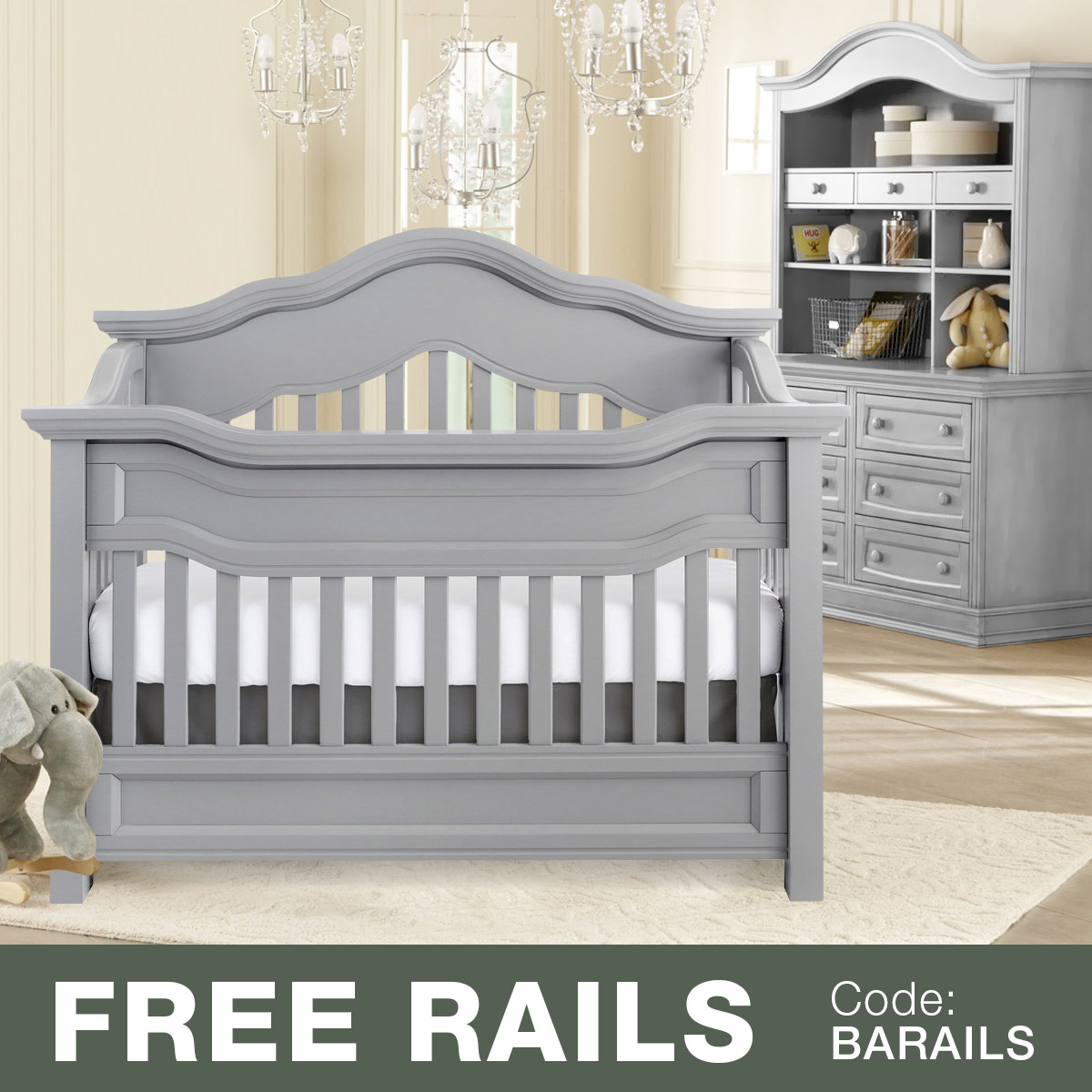 Baby Appleseed 3 Piece Nursery Set   Millbury 3 In 1 Convertible Crib,  Davenport Double Dresser And Hutch In Slate FREE SHIPPING
