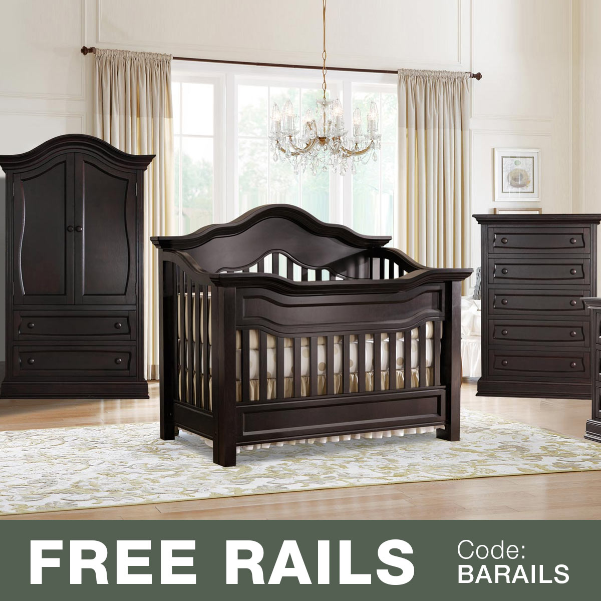 Baby Appleseed 3 Piece Nursery Set   Millbury 3 In 1 Convertible Crib,  Davenport 5 Drawer Tall Dresser And Armoire In Pure White FREE SHIPPING
