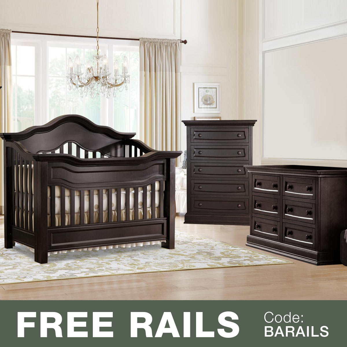 Baby Appleseed Millbury 3 Piece Nursery Set   Convertible Crib, Double  Dresser And 5 Drawer Chest In Espresso FREE SHIPPING