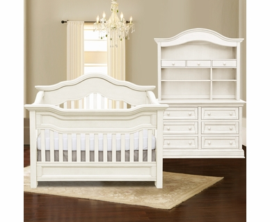 Baby Appleseed Millbury 3 Piece Nursery Set - Convertible Crib, Double Dresser and Hutch in Colonial White