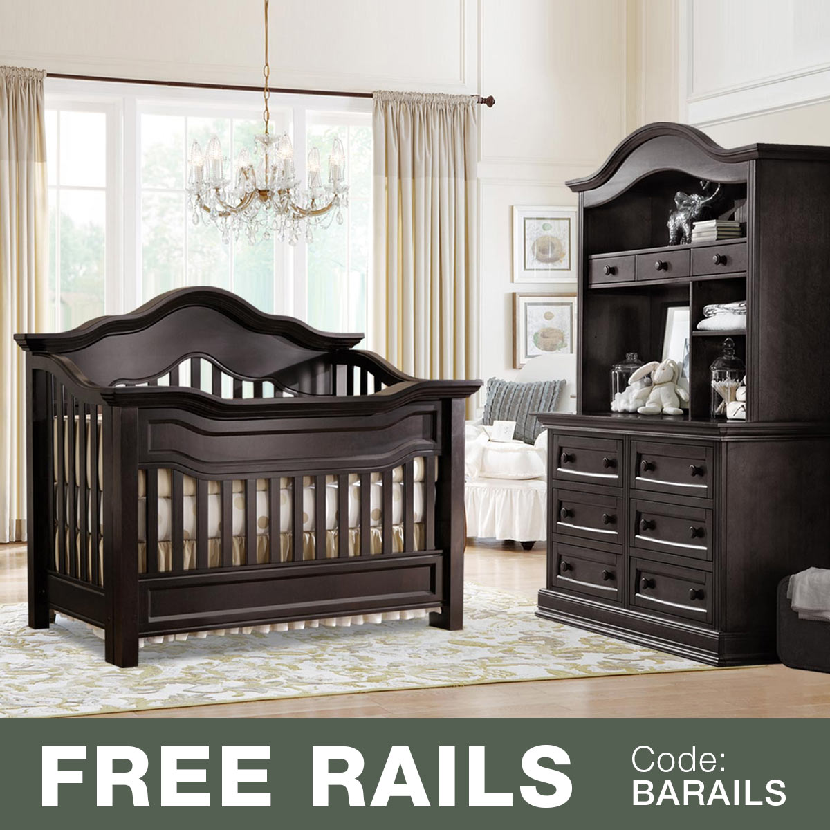 Baby Leseed Millbury 3 Piece Nursery Set Convertible Crib