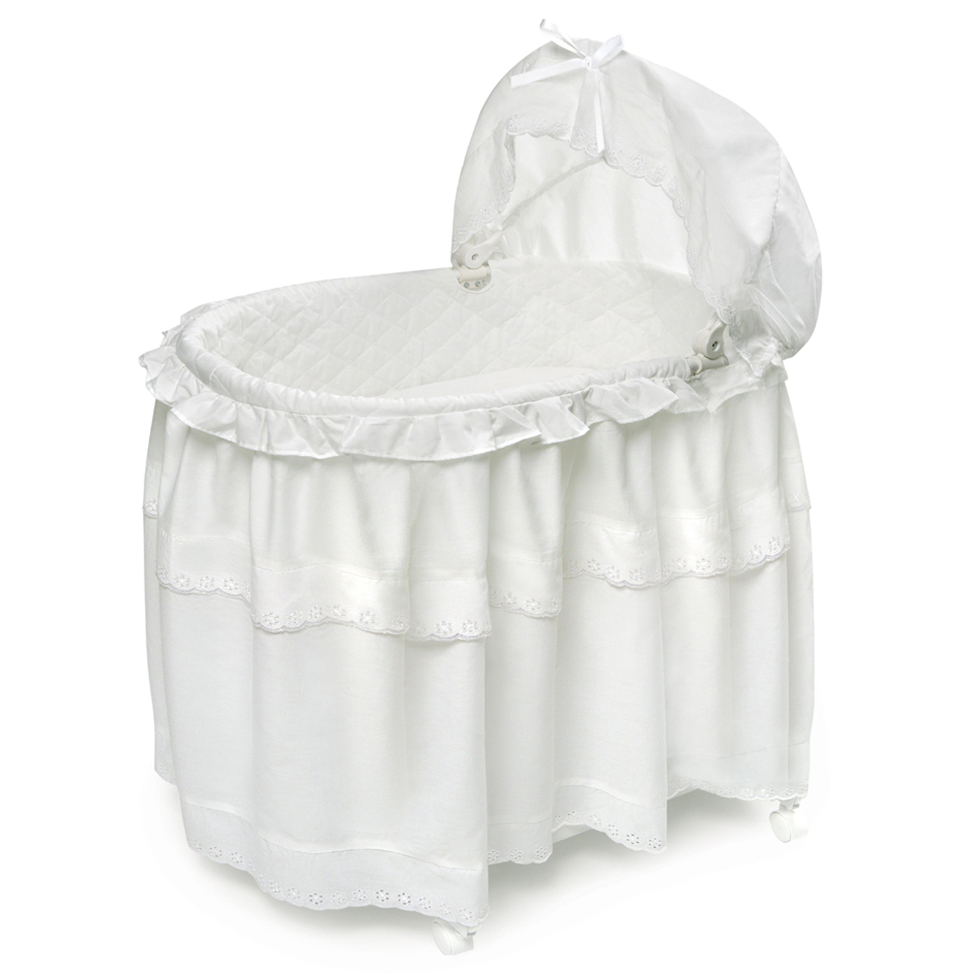 Badger Basket Portable Bassinet N Cradle With Toybox Base White Batiste Floor Length Skirt Free