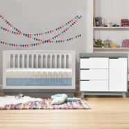Babyletto 2 Piece Nursery Set - Acrylic Harlow 3-in-1 Convertible Crib and Hudson Changer Dresser in Two Tone Grey and White