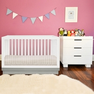 Babyletto 2 Piece Nursery Set - Acrylic Harlow 3-in-1 Convertible Crib and Modo 3 Drawer Dresser in White