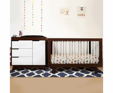 Babyletto 2 Piece Nursery Set - Hudson 3-in-1 Convertible Crib and Hudson Changer Dresser in Two Tone Espresso and White