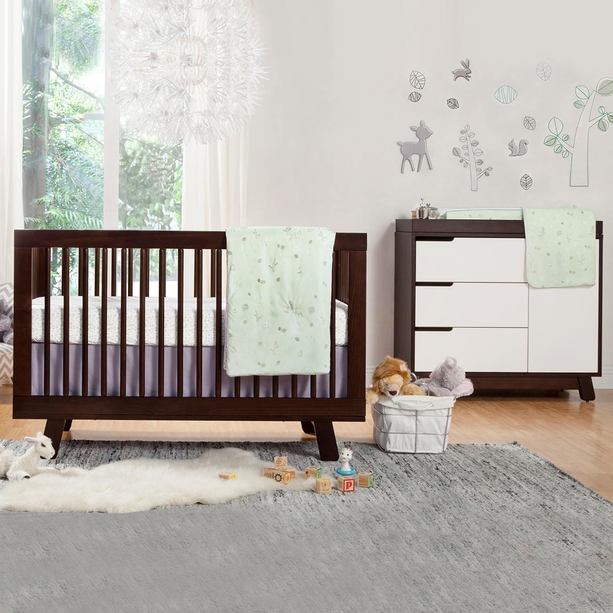 Babyletto 2 Piece Nursery Set   Hudson 3 In 1 Convertible Crib And Hudson  Changer Dresser In Two Tone Espresso And White FREE SHIPPING