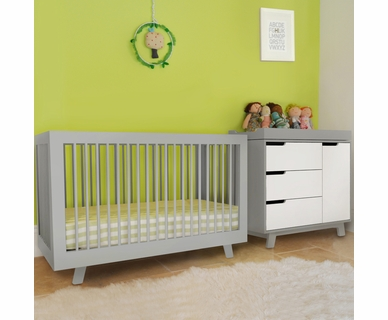 Babyletto 2 Piece Nursery Set - Hudson 3-in-1 Convertible Crib and Hudson Changer Dresser  in Two Tone Grey and White