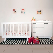 Babyletto 2 Piece Nursery Set - Hudson 3-in-1 Convertible Crib and Hudson Changer Dresser in White