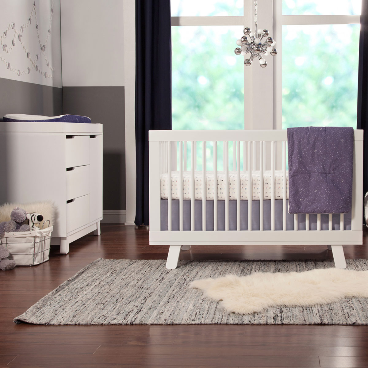 babyletto 2 piece nursery set hudson 3 in 1 convertible crib and hudson changer dresser in white free shipping babyletto furniture