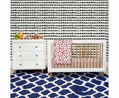 Babyletto 2 Piece Nursery Set - Lolly 3-in-1 Convertible Crib and Dresser Changer in White/Natural