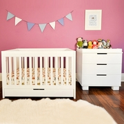 Babyletto 2 Piece Nursery Set - Mercer 3 in 1 Convertible Crib and Modo 3 Drawer Dresser in White