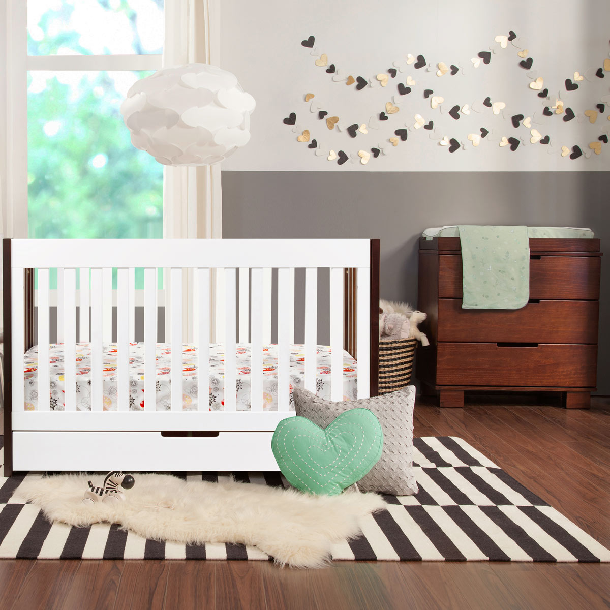 Modern Babyletto 2 Piece Nursery Set   Mercer Two Tone 3 In 1 Crib U0026 3  Drawer Espresso Dresser/Changer Set   FREE SHIPPING
