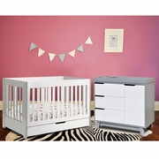 Babyletto 2 Piece Nursery Set - Mercer Crib and Hudson Changer Dresser in Grey and White