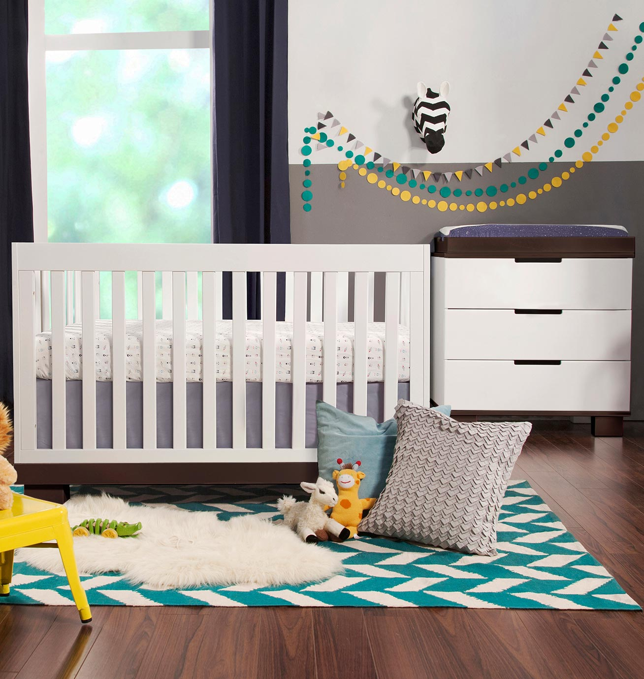 Babyletto 2 piece nursery set modo 3 in 1 convertible crib and dresser changer in white free shipping