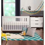 Babyletto 2 Piece Nursery Set - Modo 3 in 1 Convertible Crib and 3 Drawer Dresser/Changer in White / Espresso