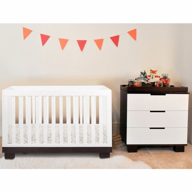 Babyletto 2 Piece Nursery Set - Modo 3 in 1 Convertible Crib and 3 Drawer Dresser/Changer in White / Espresso - Click to enlarge
