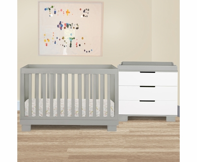 Babyletto 2 Piece Nursery Set - Modo 3-in-1 Convertible Crib and Dresser Changer in Grey