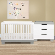 Babyletto 2 Piece Nursery Set - Modo 3-in-1 Convertible Crib and Dresser Changer in Grey/White