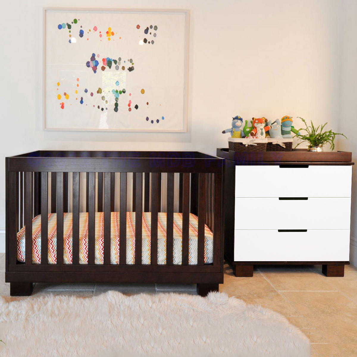 Babyletto 2 Piece Nursery Set Modo 3 In 1 Convertible Crib And Dresser Changer Grey White Free Shipping