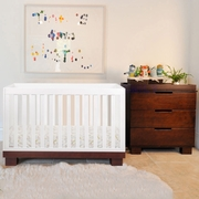Babyletto 2 Piece Nursery Set - Modo 3 in 1 Convertible Crib in White / Espresso and 3 Drawer Dresser/Changer in Espresso