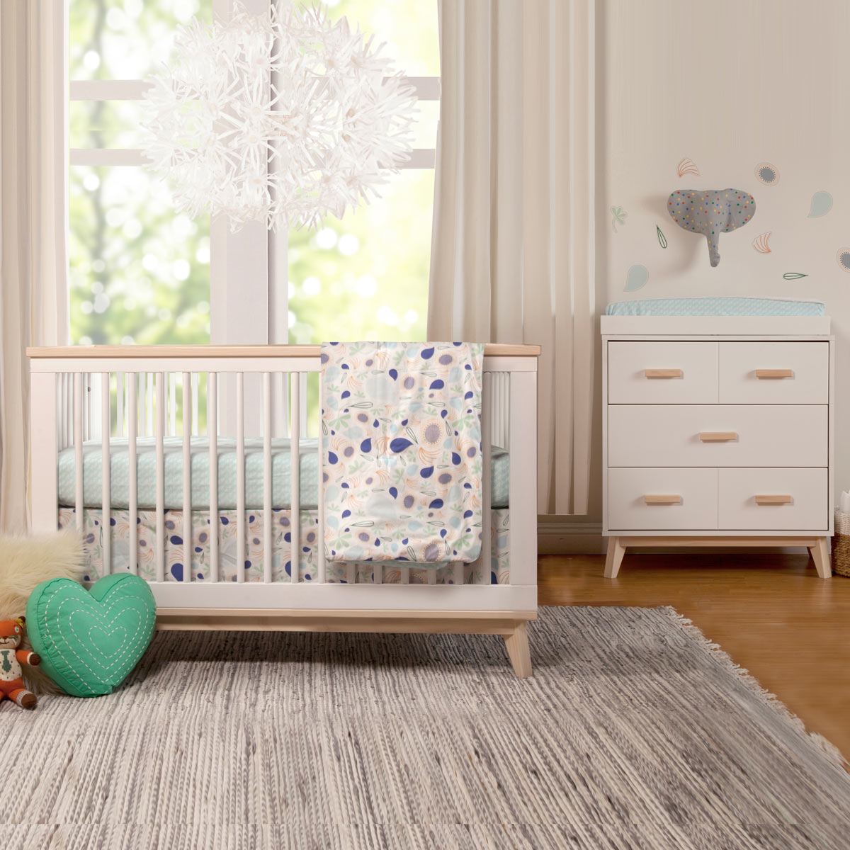 Babyletto 2 piece nursery set scoot 3 in 1 convertible crib and dresser changer in white natural free shipping