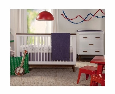Babyletto 2 Piece Nursery Set - Scoot 3-in-1 Convertible Crib and Dresser Changer in White/Washed Natural