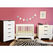 Babyletto 3 Piece Nursery Set - Grayson Mini Crib, Modo 3 Drawer Dresser/Changer and Mercer 5 Drawer Dresser in White and Espresso
