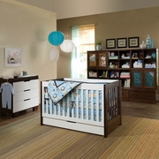 Babyletto 3 Piece Nursery Set - Mercer 3 in 1 Convertible Crib in White / Espresso, 3 Drawer Dresser / Changer in White / Espresso and Complete Storage System in Espresso