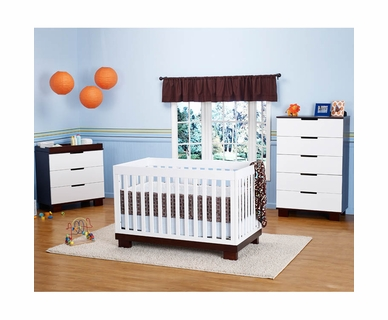 Babyletto 3 Piece Nursery Set - Modo 3 in 1 Convertible Crib, 3 Drawer Dresser/Changer and 5 Drawer Dresser in White / Espresso